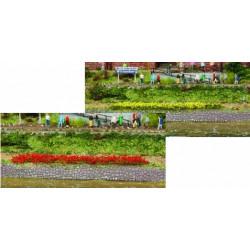10 bandes d'herbes jaunes/rouges - longueur 100 mm