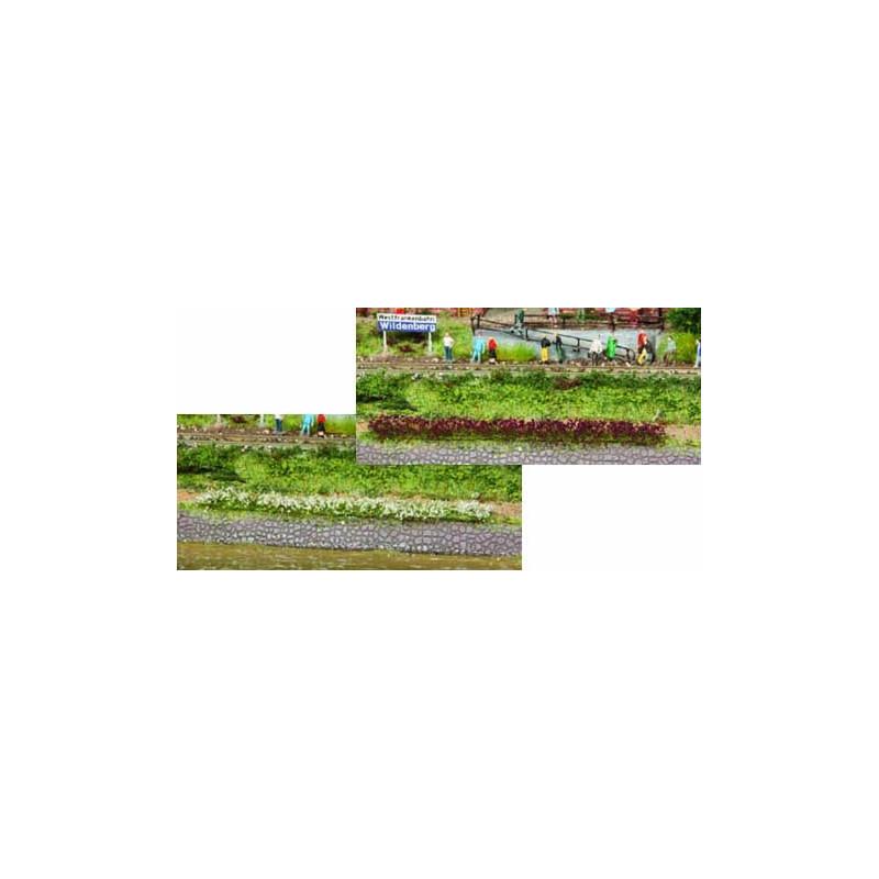 10 bandes d'herbes lilas/blancs - longueur 100 mm
