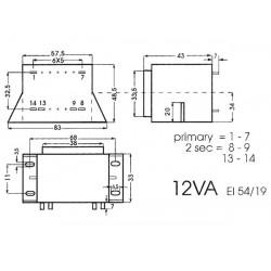 Transfo d'alim. à cosses entrée 220V AC sortie 2x6V AC 1 A