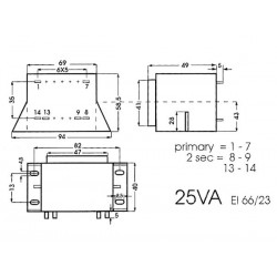 Transfo d'alim. à cosses entrée 220V AC sortie 2x7V5 AC 1,6 A