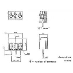 Bornier à vis 2 pôles bleu pour plaque circuit imprimé