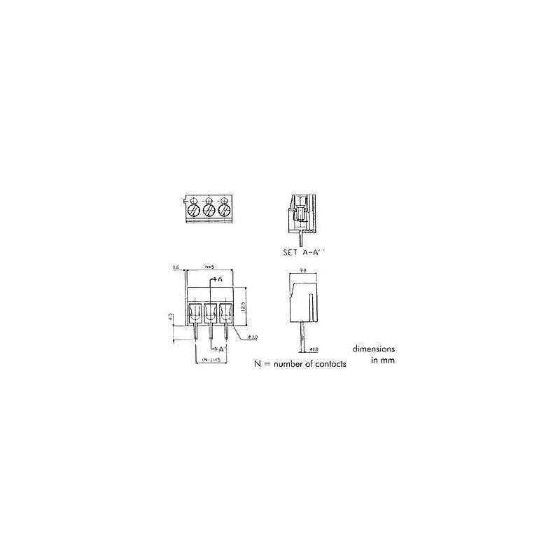 Bornier à vis - 3 Pôles bleu pour circuit imprimé