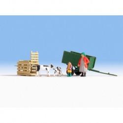 HO/ Transport de veaux - 2 figurines + 2 animaux + accessoires