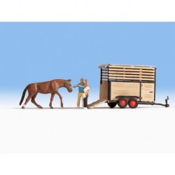 HO/ Transport de cheval - 2 figurines + 1 animal + accessoires