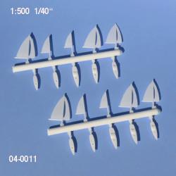 10 Bateaux à voile 11 et 15 mm échelle 1:500