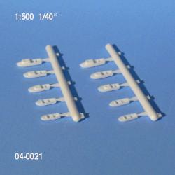 10 Bateaux à moteur 11 et 15 mm échelle 1:500