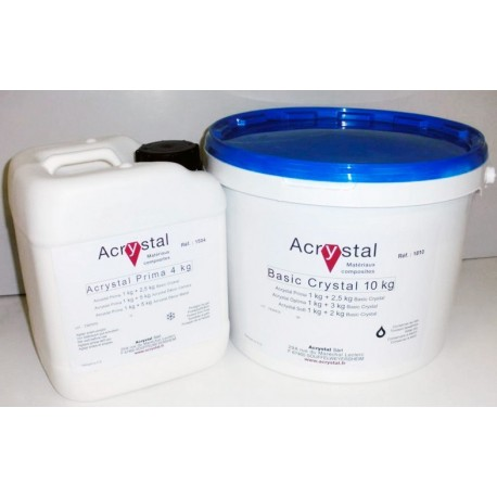 Kit Acrylique de 3,5 kg : 1kg de liquide Acrystal PRIMA et 2,5 kg de poudre Acrystal livré en vrac